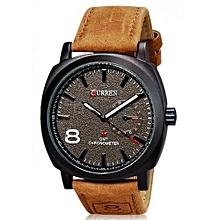 Curren 8139 Analogue Black Dial Men Watch black-brown - Leather Strap Brown -Black