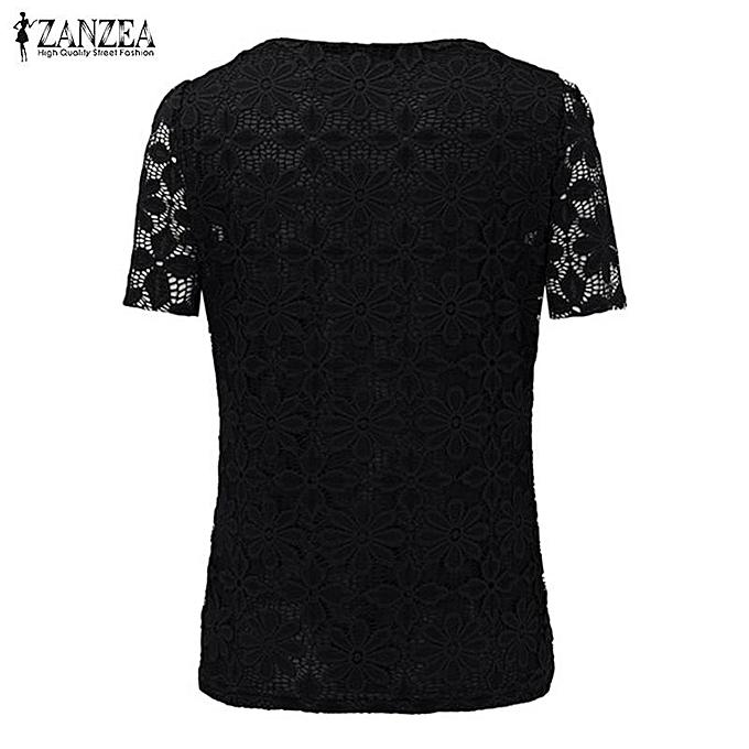 682fd06330d ... ZANZEA Fashion Summer Women Floral Lace Slim Blouses Shirts Elegant  Casual Short Sleeve Tee Tops Blusas ...