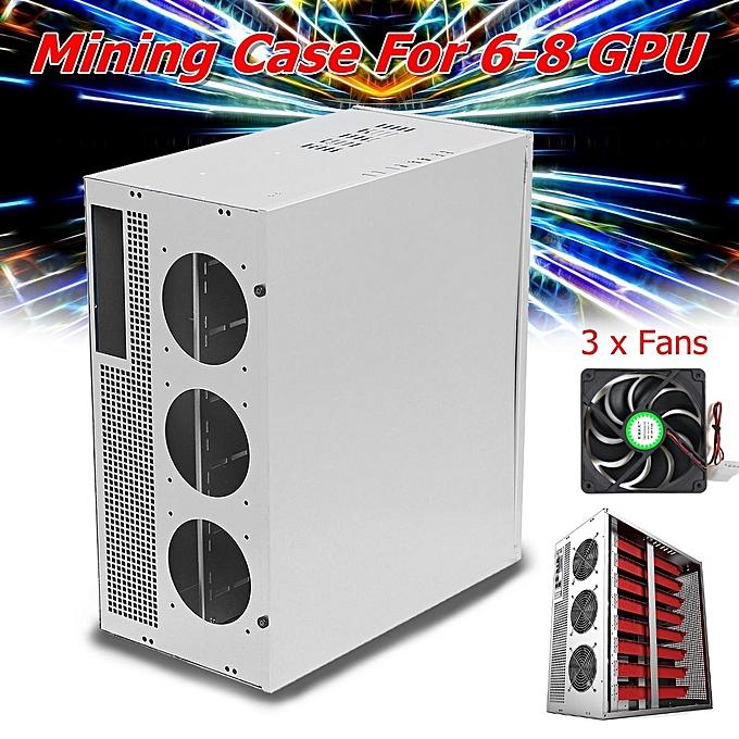 Mining Rig Frame Case + 3 Fans For 6-8 GPU Crypto-currency ETH BTC Ethereum