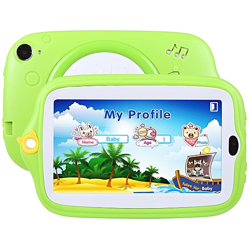 Kids Education Tablet PC, 7 0 inch, 512MB+8GB, Android 4 4 Allwinner A33  Quad Core, WiFi / Bluetooth, with Holder Silicone Case(Green)