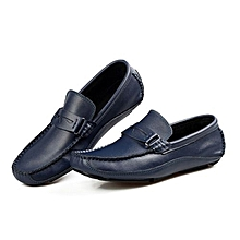 Blue stylish men full grain Genuine leather casual loafers