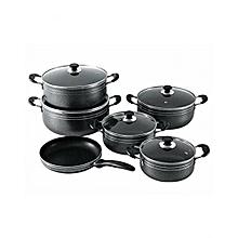 11Pcs Non-Stick Pots & Pans + FREE 6 Tablespoons- Black