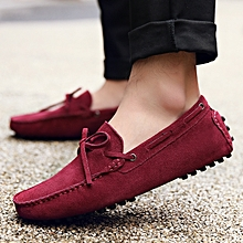 Men Loafers Plus Size 39-46 Slip On Comfy Cow Suede Moccasins Leather Driving Shoes
