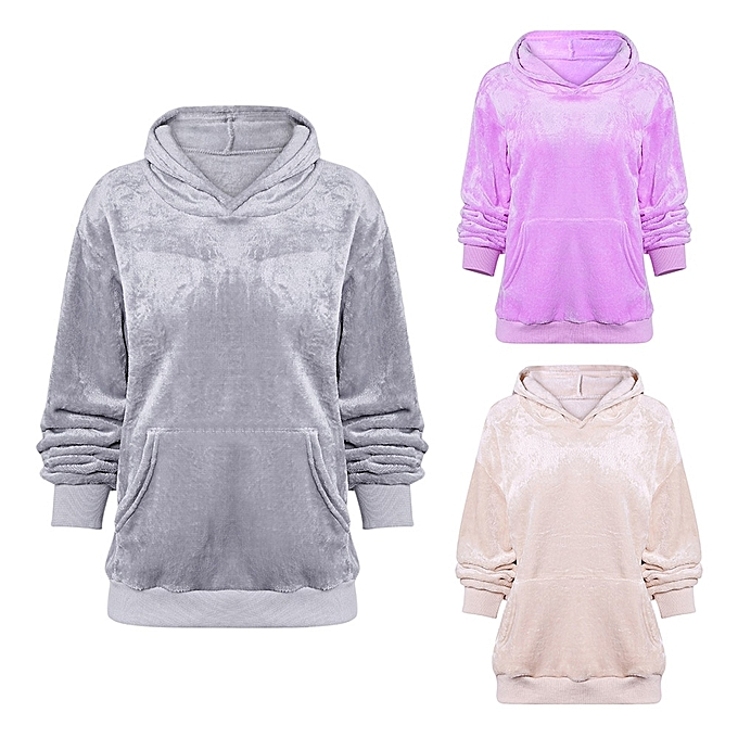 266ba539f8709 ... Fashion Leadsmart Hooded Long Sleeve Fleece Pocket Solid Color  Sweatshirt Women Hoodie