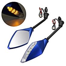 motorcycle bike mirror indicator light led Rearview Turn Signal (Blue)