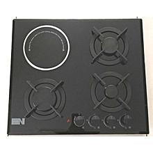 60cm Built-In 4-Burner Gas Cooker/Hob and 1 Radiant Cooker/Hob Tempered Glass- Black