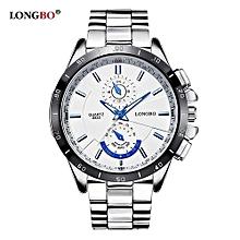 Watches, 8833 Man Fashion Brand Sports Business Stainless Steel Luminous Waterproof Quartz Watch Luxury Wristwatches Men Watches(White) - Silver