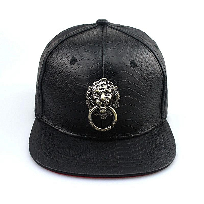 Men Women Faux Leather Baseball Hip-Hop Hat Adjustable Snapback Lion Bboy  Cap 1d55aa0a102