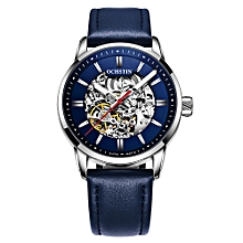 Business Men Automatic Mechanical Watch Fashion Casual Leather Strap Male Wristwatch