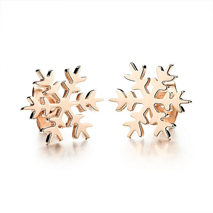 Bluerdream 2pc Rose Gold Snowflake Earrings Women Ear Studs Piercing