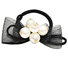 Elastic Rope Ring Pearl Hairband Fashion Women Girls Hair Band Ponytail Holder D