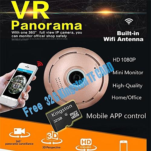 With Free 32G TF Card HD 1080P 3D VR IP Smart Camera Wifi 360 Degree  Fisheye Lens Night Vision Baby Monitor Panorama Wireless CCTV Camera P2P  APP View