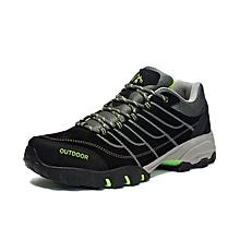 Autumn Winter Outdoor Men Hiking Mountain Climbing Shoes Warm Up Anti-skid Men Trekking Shoes Leather Sports Sneakers - Black