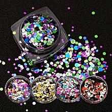 12pcs Mixed Round Thin Nail Art Glitter Paillette Nail TipGel Polish Decoration