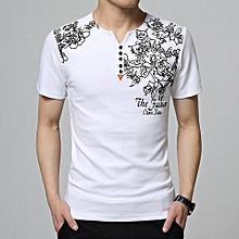 Men's Plus V-neck Floral Short Sleeve Shirt (White)