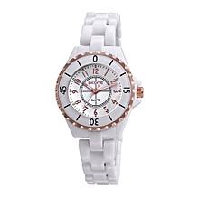 Gorgeous Elegant Analog Quartz Watch Water Resistant Ceramic Watchband Precise Wristwatch For Women