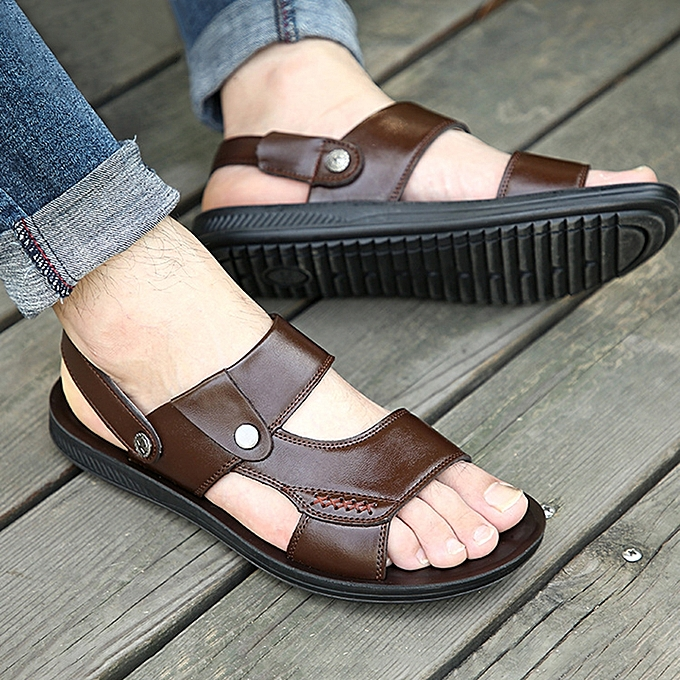 a29ce21a1235 ... Men Comfy Sole Genuine Leather Sandals Two Way Wear Shoes Beach Shoes