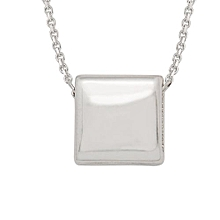 Square Cube 18K White / 18K Rose 925 Sterling Silver Necklace Color Rose Gold Plated