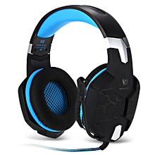 G1100 USB Gaming Headset Vibration with LED Light - Blue + Black