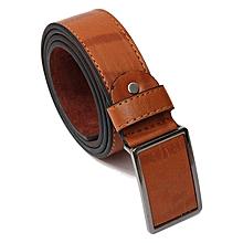 Mens Genuine Leather Vintage Metal Automatic Buckle Waist Band Strap Belt Brown