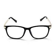 Retro Unisex Eyeglass Frame Full-Rim Glasses Clear Lens Metal Women Men Designer  Bright Black +Gold