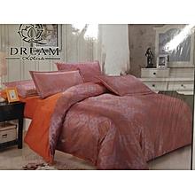 Silk Duvet Cover - 6x6 Brown  with Orange Bedsheet
