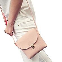 bluerdream-Fashion Women Leather Plug Lock Handbag Cross Body Shoulder Messenger Bag -Pink