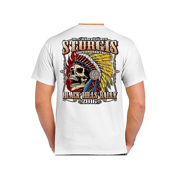 ef97cba356c32 Custom Funny Mens T Shirt Sturgis Insane Indian Skull T-Shirt Short Sleeve  Summer Men s