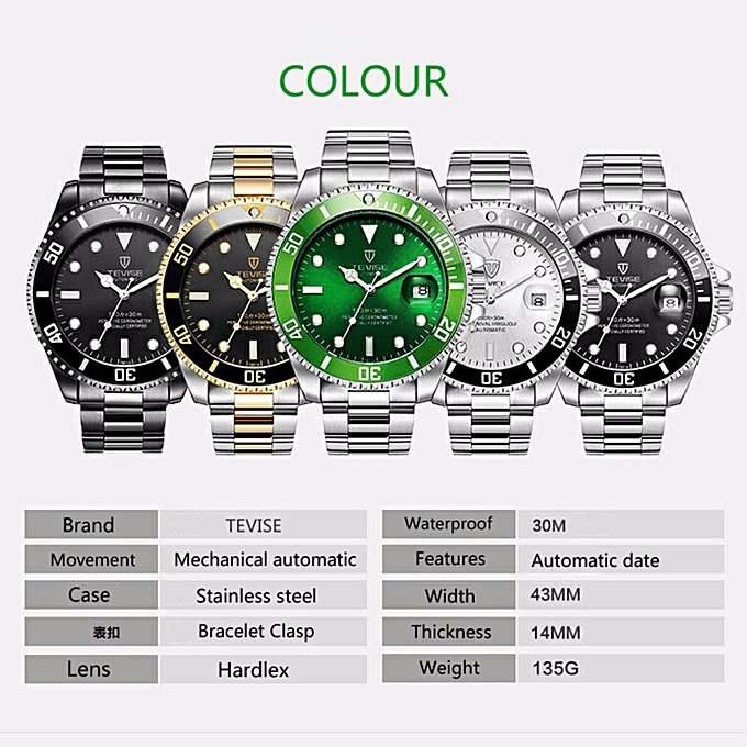 3156ba39e73 ... TEVISE Automatic Mechanical Watches Men watch Relogio Automatico  Masculino Waterproof Sport Business Wristwatch Male Clock 801