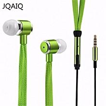 JQAIQ Shoelaces Earphone Stereo Sound Metal Bass Headphones Orange