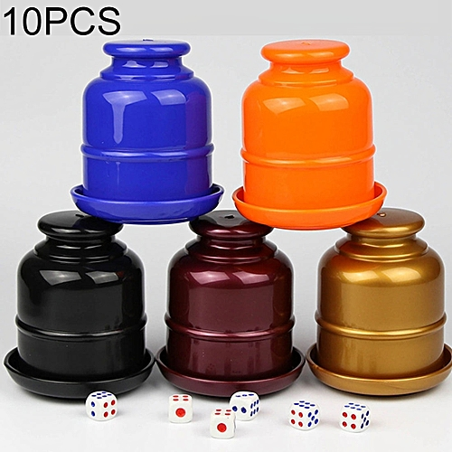 10 PCS Thickening Plastic Dice Cup Shaker Cup with Bottom Bar Nightclubs  KTV Accessories Entertainment Desktop Games without Dice, Random Color