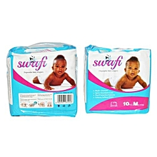Swafi Premium Baby Diapers - size 4, Medium Pack (Count 10) -  Baby weight 5-11 kgs