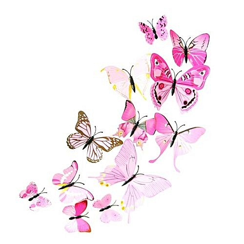 Generic Houseworkhu 12pcs Decal Wall Stickers Home Decorations 3D Butterfly Rainbow Pink