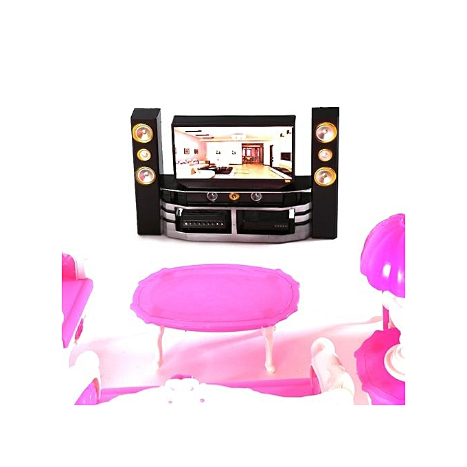 Buy Generic 7Pcs Deluxe Barbie Dolls Living Room Furniture Sofe+ ...