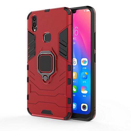 big sale 15a85 d705f For VIVO V9 Armor Style Back Ring magnet phone Case cover with Kickstand  -Red