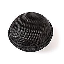 Roundness Earphones Accessory Storage Zipper Box-BLACK