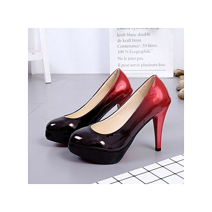 7a271ef1488 Jiahsyc Store Women Fashion Patent Leather Shoes Gradient Color Shallow  High-Heeled Shoes-C