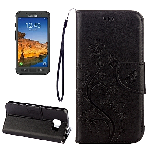 official photos cd6fe 34359 For Galaxy S7 Active Pressed Flowers Butterfly Pattern Horizontal Flip  Leather Case with Holder & Card Slots & Wallet & Lanyard(Black)
