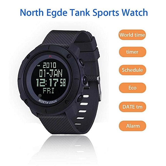 North Edge TANK Waterproof Digital Sport Watch Countdown Schedule For  Riding Hiking(Black) JY-M