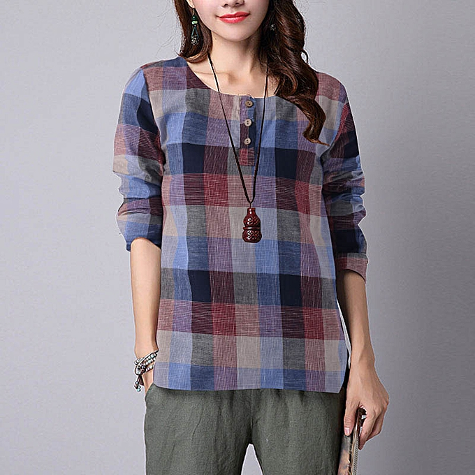 196f0d1ce756 Fashion Women Button Crew Neck Plaid Checked Tops Loose Shirt Tee ...