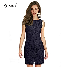 Elegant Cocktail Floral Lace Dress Sexy Sleeveless Full Zip Back Eyelash Lace Side Work Office Wedding Stretch Bodycon Slim Pencil Dress - Deep Blue