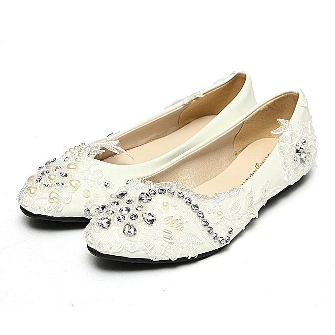 White Light Ivory Lace Pearls Crystal Flats Ballet Wedding Bridal Women  Shoes 31fe916601