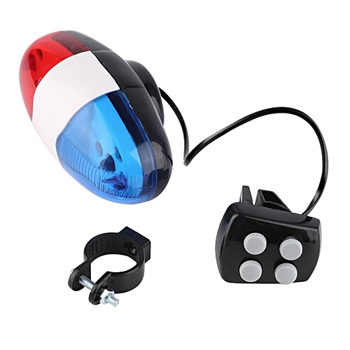 UJ Bike Bicycle Cycling 4 Sounds LED Police Car Siren Electric Light Horn  Bell