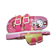 Adorable High Quality slide in Cartoon themed slide in flip flops For Girls - Pink with a mix of White and Yellow
