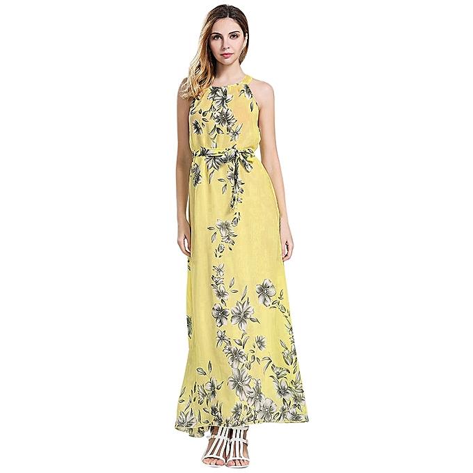 b781f6c52c Lady Womens Sleeveless Boho Dress Ladies Floral Print Summer Long Maxi Dress