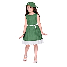 Sleeveless Green with small white polka dots Cotton Dress, with Matching Cap