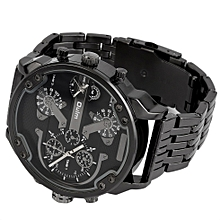 Oulm Men's 2 Movement Big Dial Stainless Steel Strap Sports Wrist Watch 3548-Black