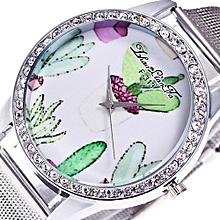 Fashion Luxury Women Quartz Stainless Steel Mesh Belt Wrist Watch