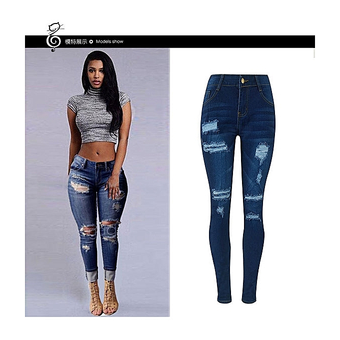 Refined Women Pencil Skinny Jeans Stretchy Hole Ripped Jeans Woman Denim  Pants Trousers -deep blue 63fefe1e24