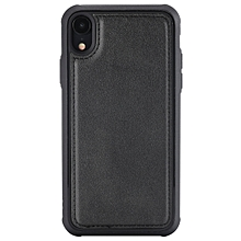 Magnetic Shockproof TPU + PC + PU Leather Pasted Case for iPhone XR(Black)